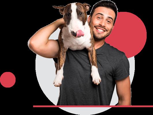Man holding bull terrier on shoulder