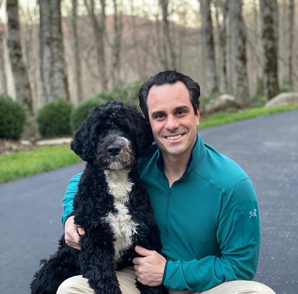 Jeff Skalka and Dog, Hudson