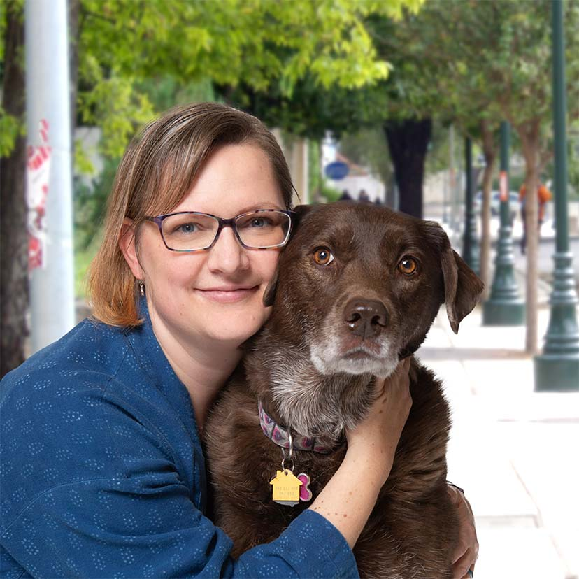 Heather Lewis with her dog Luna