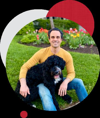 Jeff Skalka with Dog, Hudson